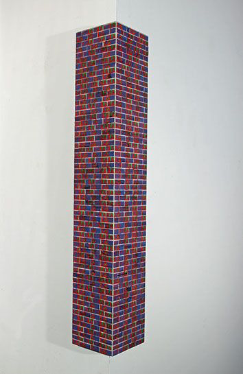 "Jordan Scott, ""Love"", 30""x5""x5"", vintage stamps with resin on panel"