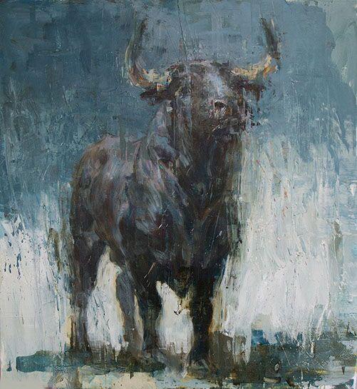 "Joseph Adolphe, ""Toro Bravo No. 34"", 48""x44"", oil on canvas"