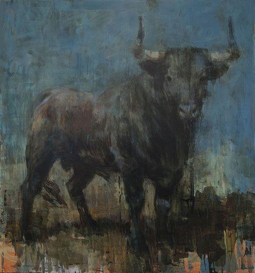 "Joseph Adolphe, ""Toro Bravo No. 25 "", 70""x65"", oil on canvas"