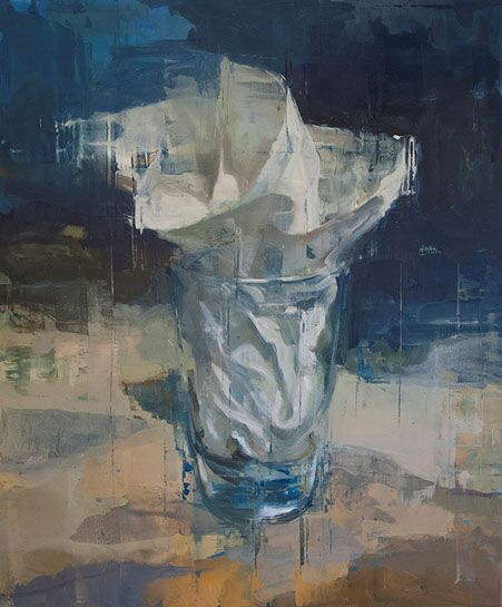 "Joseph Adolphe, ""Glass Elegy No. 9"", 72""x60"", oil on canvas"
