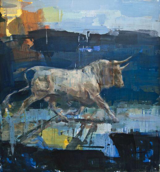 """Joseph Adolphe, """"Toro Sagrado No. 11"""", 62""""x58"""", oil on canvas"""