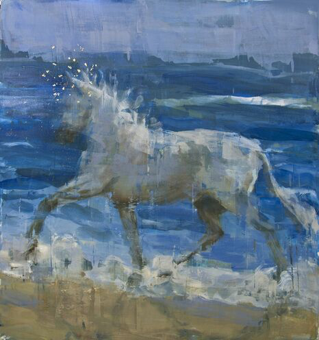 """Joseph Adolphe, """"Equus No. 1"""", 62""""x58"""", oil and gold leaf on canvas"""