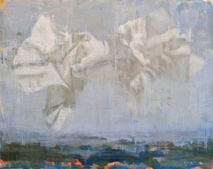 """Joseph Adolphe, """"Messages"""", 48""""x60"""", oil on canvas"""