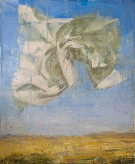 """Joseph Adolphe, """"Another Message"""", 60""""x48"""", oil on canvas"""