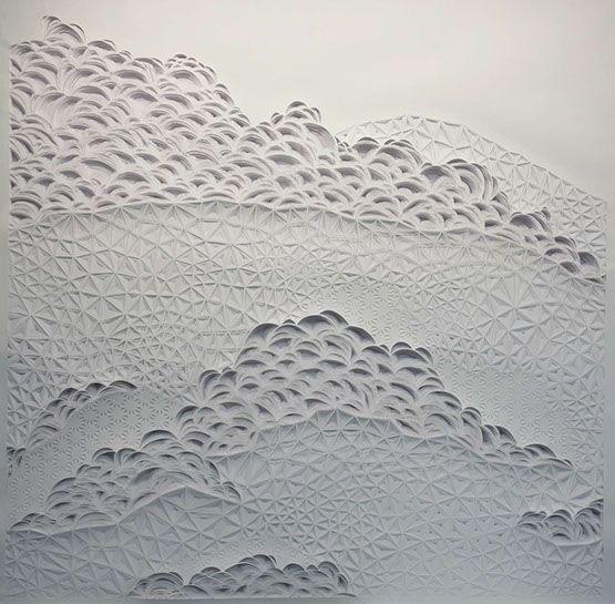 """Laura Alexander, """"Cloudscape"""", 48""""x48"""", paper on foam board"""