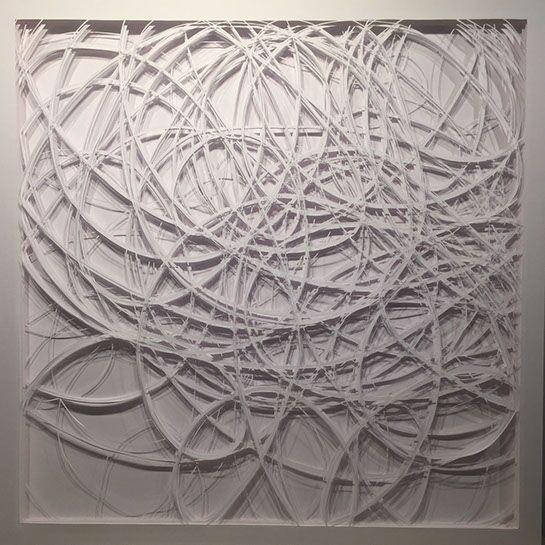 """Laura Alexander, """"Scrawl"""", 36""""x36"""", paper on foam board"""