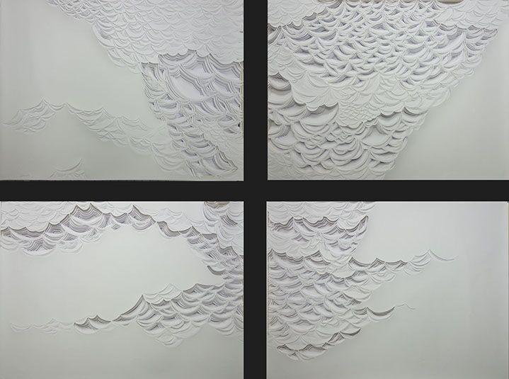 "Laura Alexander, ""Supercell"", 45""x60"", paper on foam board"