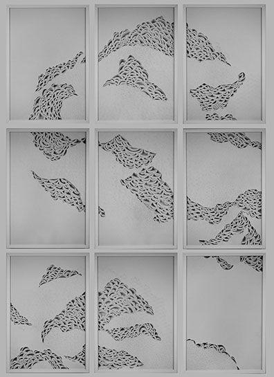 """Laura Alexander, """"Untitled"""", 108""""x72"""", paper on foam board"""