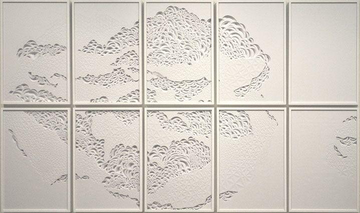"""Laura Alexander, """"Silence"""", 72""""x120"""", paper on foam board"""