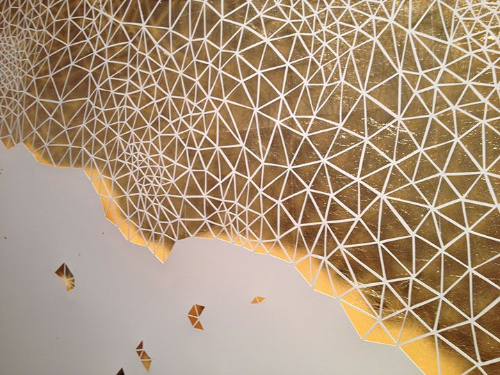 """Laura Alexander, """"The Weight of Winter"""" (detail) paper and gold leaf on foam, framed"""