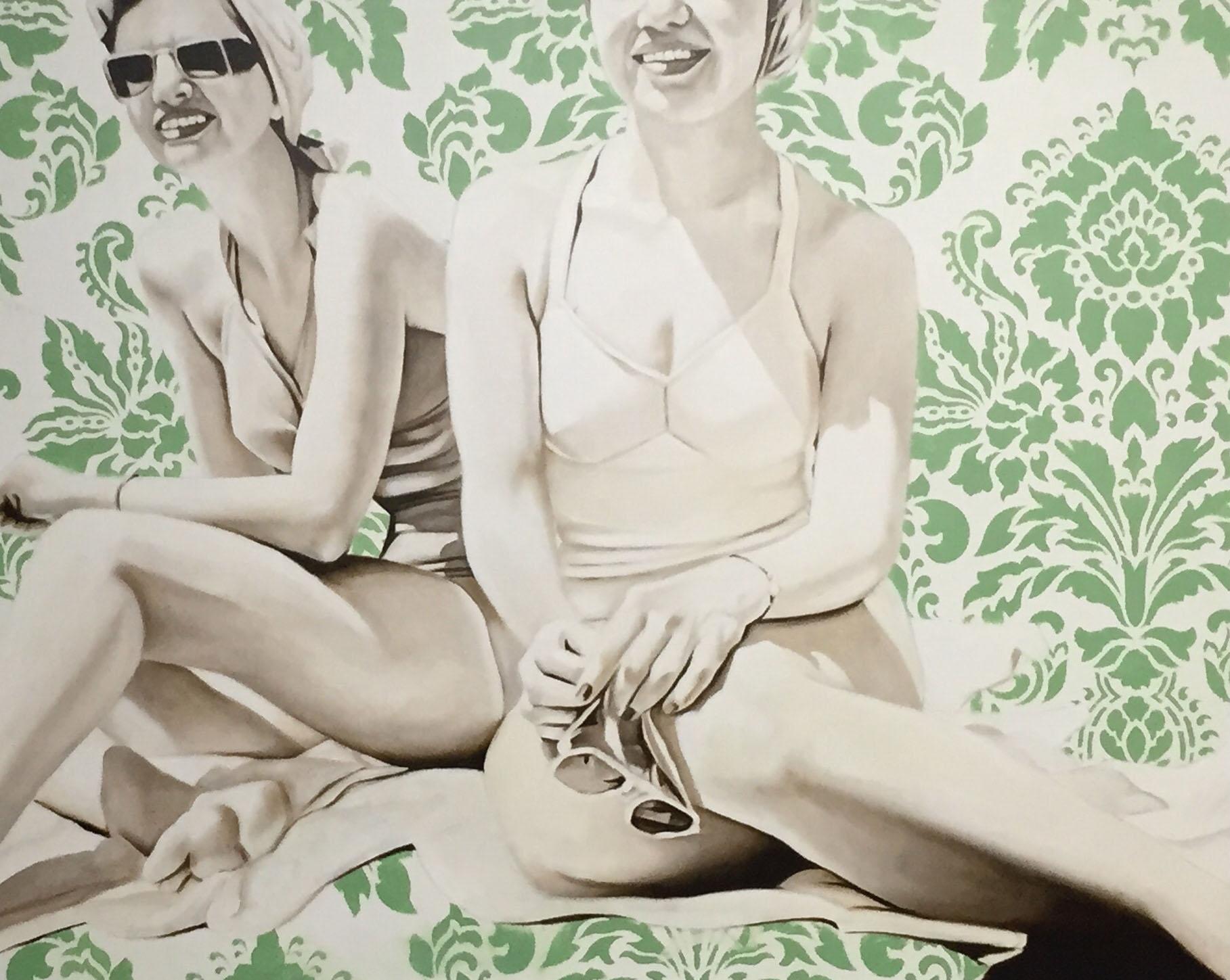 "Jhina Alvarado, ""Girls at the Beach"", 24""x30"", oil and encaustic on panel"