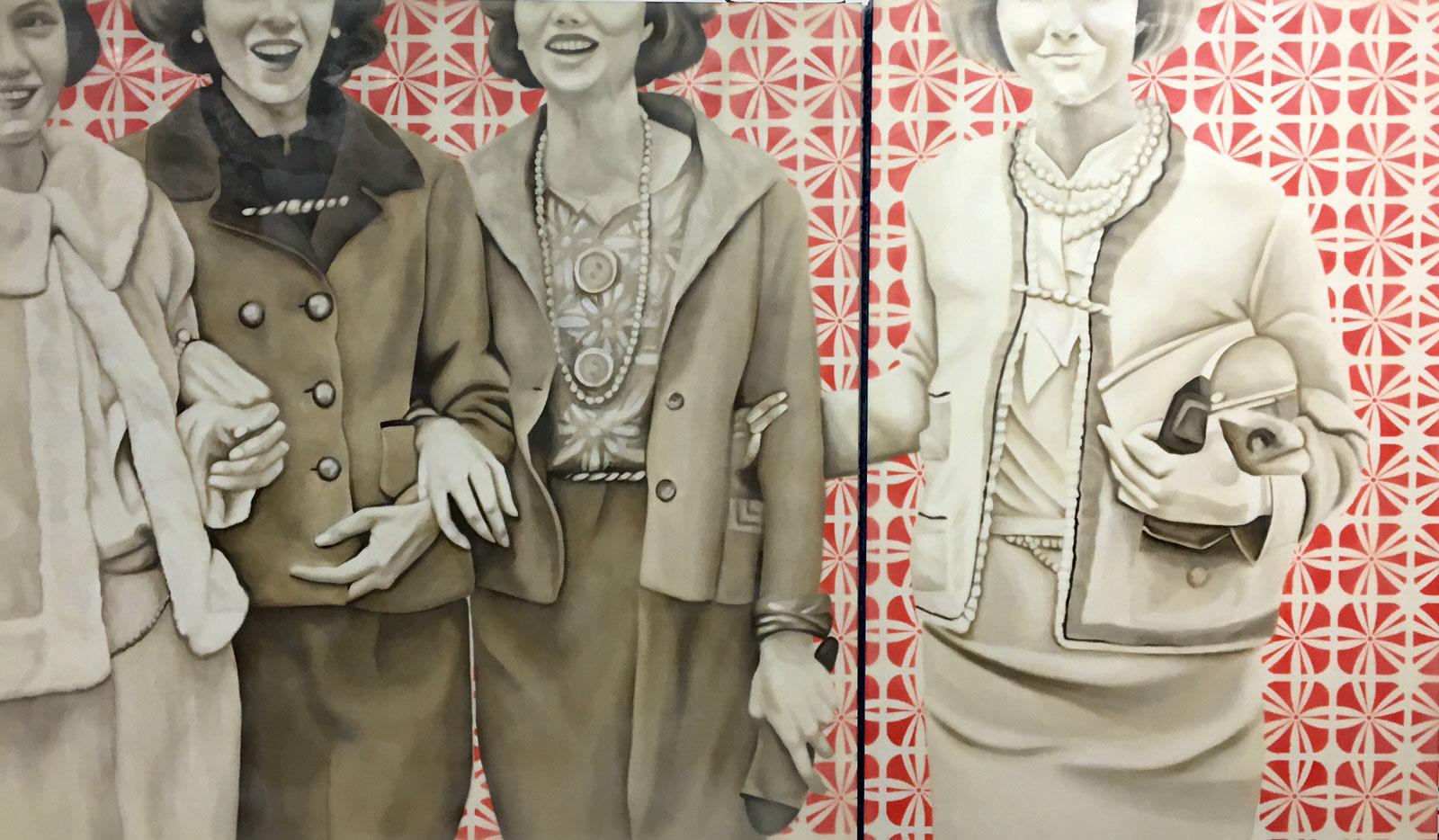 "Jhina Alvarado, ""Society Girls"", 36""x60"", oil and encaustic on panel"