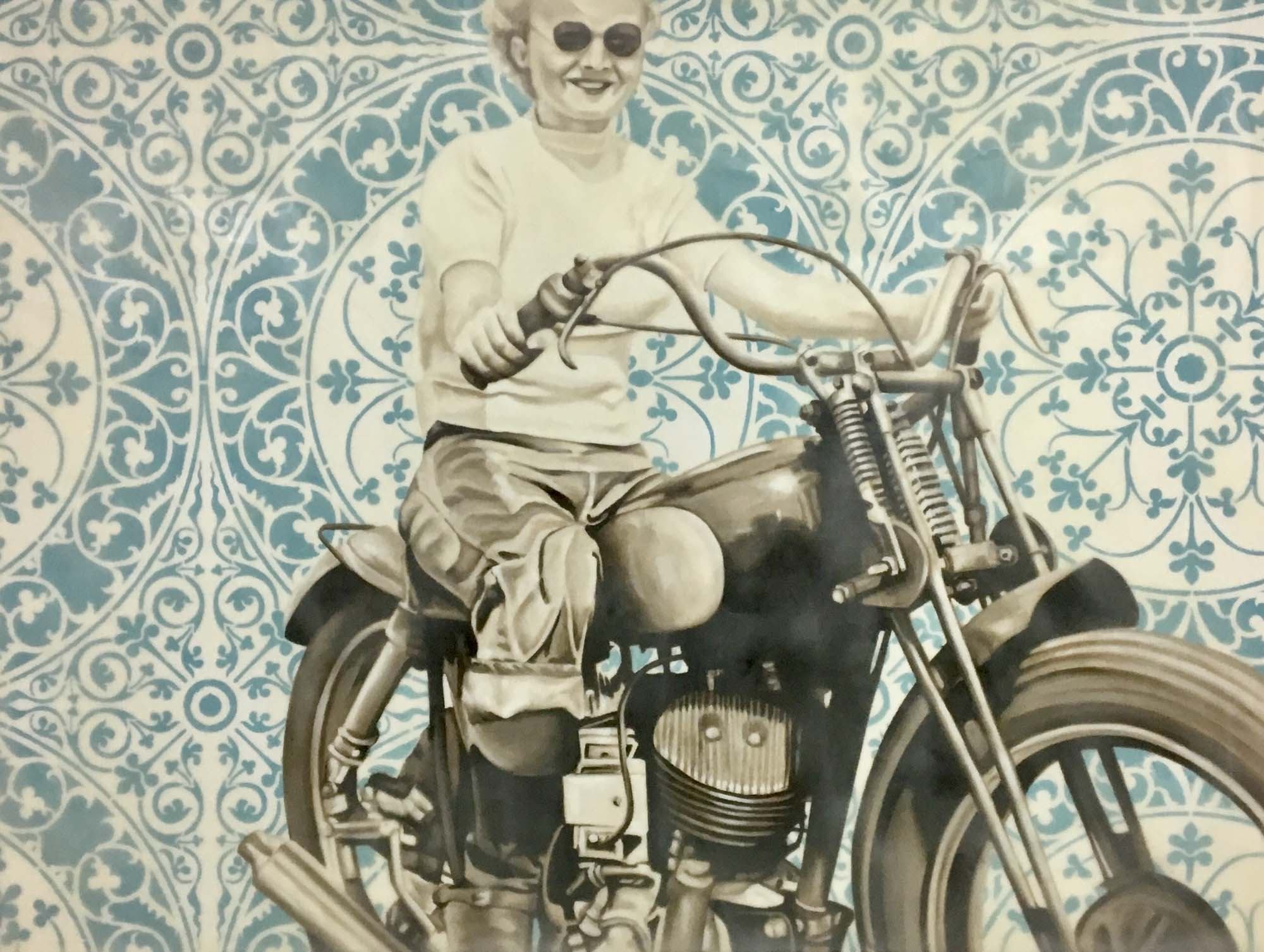 "Jhina Alvarado, ""Motorcycle Woman"", 30""x40"", oil and encaustic on panel"