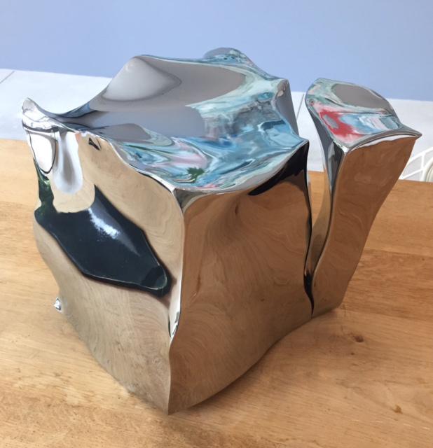 """Jon Krawczyk, """"Small Cube"""", 10""""x9""""x9"""", polished stainless steel"""
