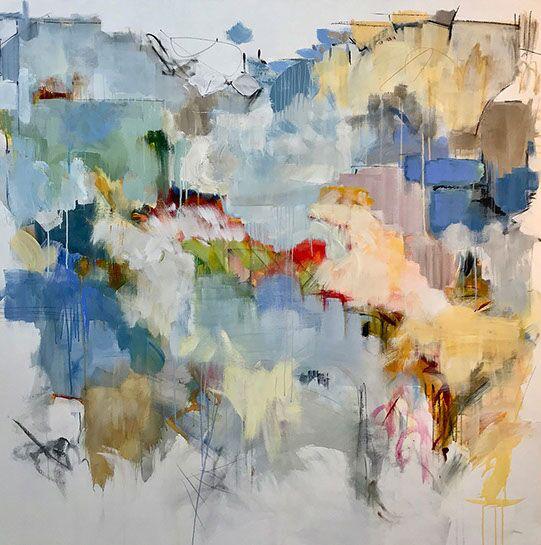 "Maria Burtis, ""Haiku Village"", 60""x60"", acrylic on canvas"