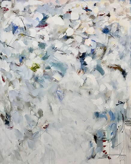 """Maria Burtis, """"Cherries in the Frost"""", 60""""x48"""", acrylic on canvas"""