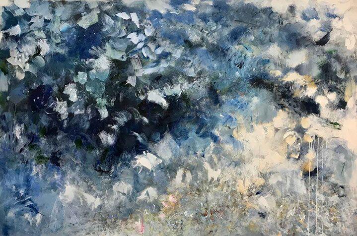 "Maria Burtis, ""Silver Rain"", 48""x72"", acrylic on canvas"