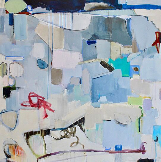 """Maria Burtis, """"This Just In"""", 48""""x48"""", acrylic on canvas"""