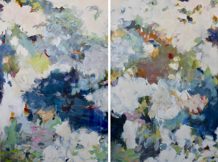 """Maria Burtis, """"Botanical"""" diptych, 72""""x96"""", acrylic on canvas"""