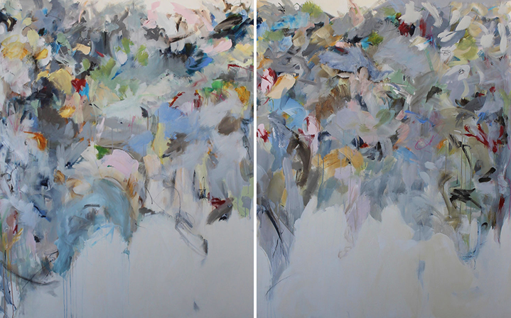 """Maria Burtis, """"Papered"""" diptych, 60""""x96"""", acrylic on canvas"""