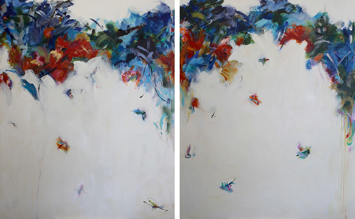 "Maria Burtis, ""Whirl Diptych"", 60""x96"", acrylic on canvas"