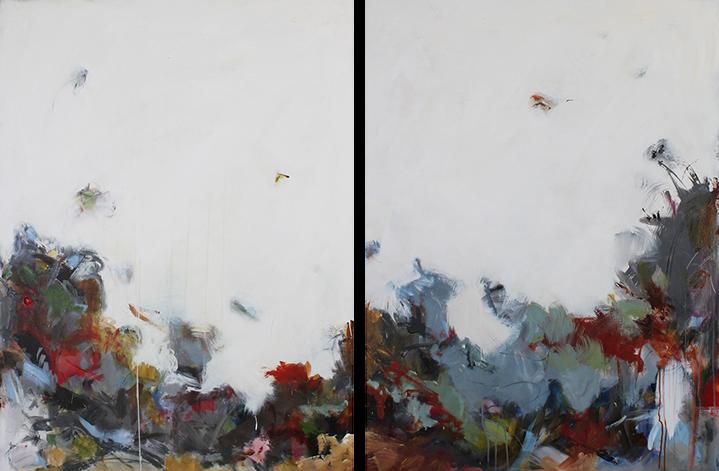 "Maria Burtis, ""Bramble Diptych"", 48""x72"", acrylic on canvas"