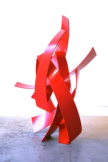 "Matt Devine, ""Sunny Side Up"", 76""x52""x32"", aluminum with powder coat paint"