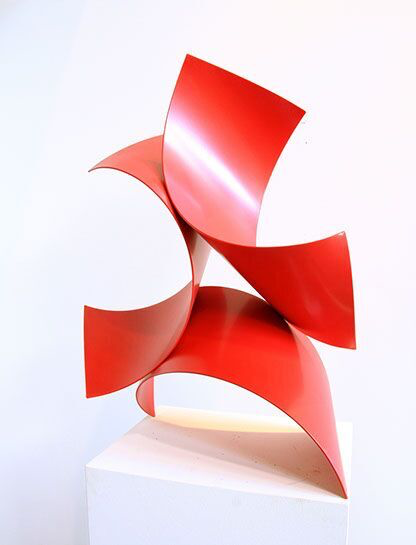 "Matt Devine, ""Three of a Kind #3"", 32""x24""x16"", steel with powder coat paint"