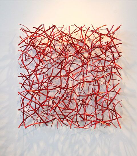 "Matt Devine, ""Ember #2"", 48""x148""x6"", steel with powder coat paint"