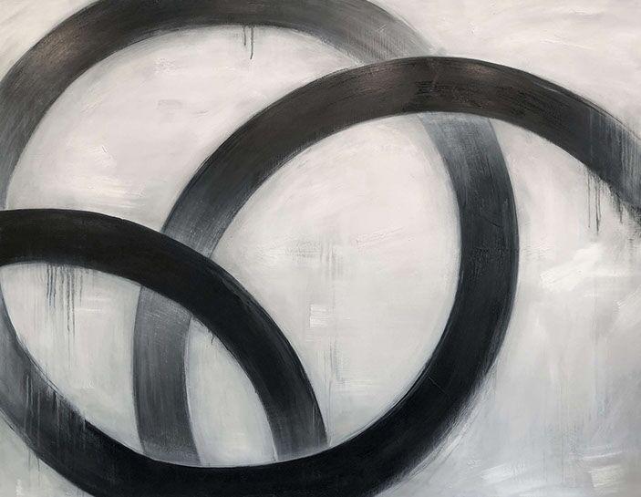 "Monika Steiner, ""Enclose"", 50""x64"", oil on wood"