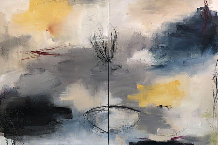 """Monika Steiner, """"Absolute I & II"""", 48""""x72"""", oil on panel"""