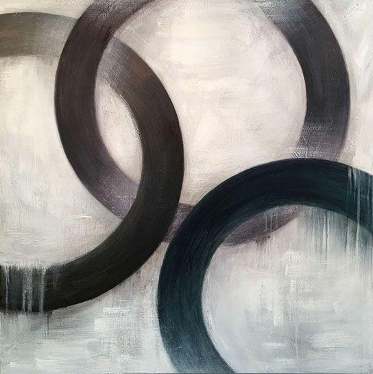 "Monika Steiner, ""Belonging"", 40""x40"", oil on panel"