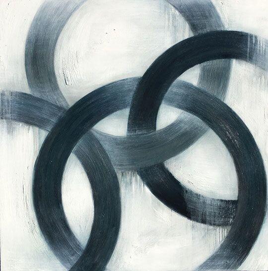 """Monika Steiner, """"Fused"""", 30""""x30"""", oil on panel"""