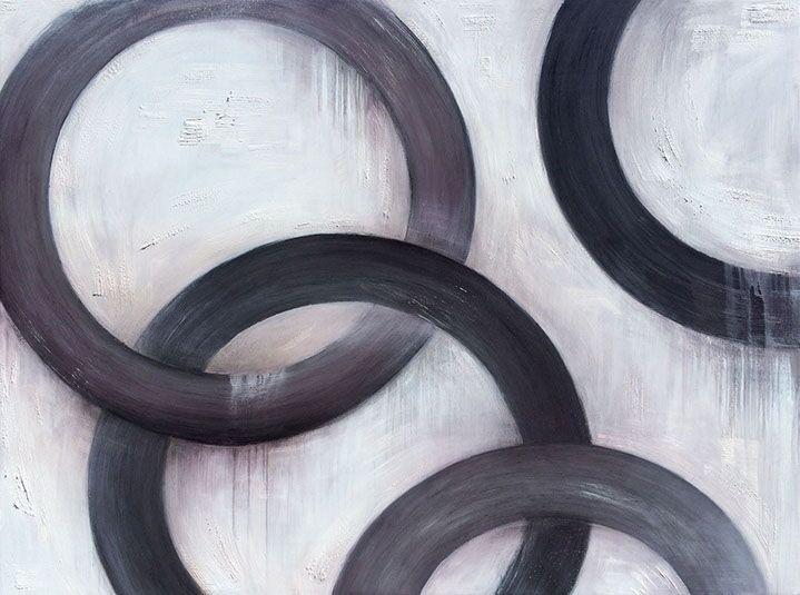 """Monika Steiner, """"Steiner Linked"""", 48""""x64"""", oil on panel"""
