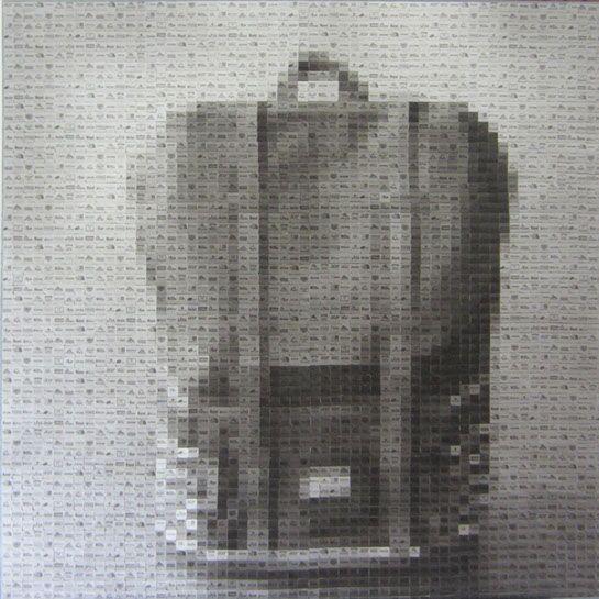 """Pamela Stretton, """"Backpack"""", 48""""x48"""", reconstructed inkjet print on foam"""