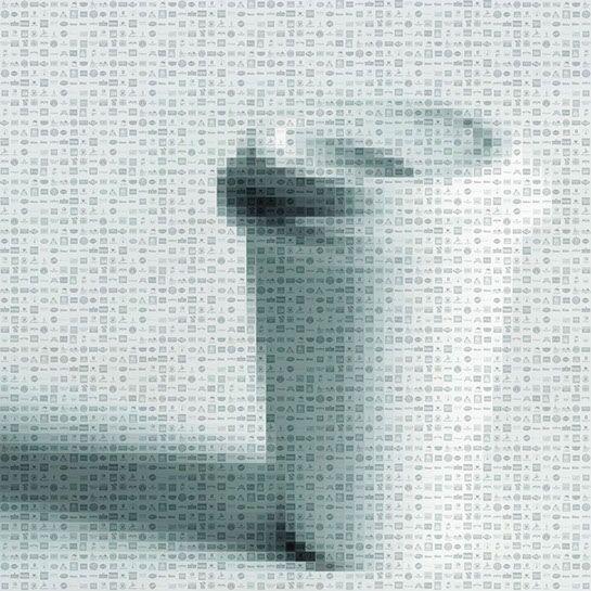 "Pamela Stretton, ""Flat White"", 48""x48"", reconstructed inkjet print on foam"