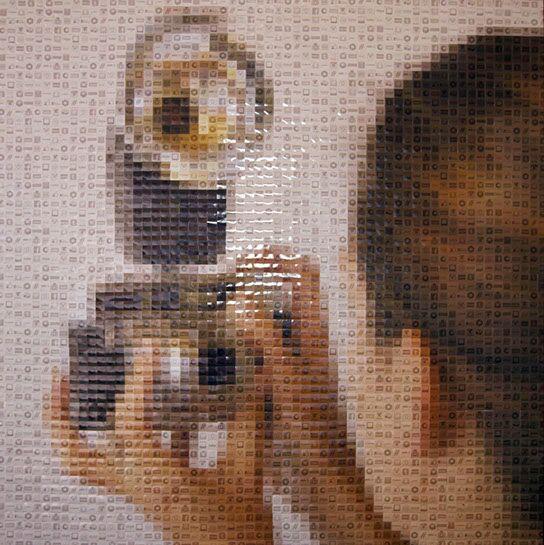 """Pamela Stretton, """"Selfie"""", 48""""x48"""", reconstructed inkjet print on foam"""