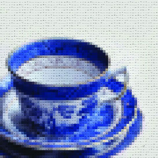 "Pamela Stretton, ""Blue"", 48""x48"", reconstructed inkjet print on foam"
