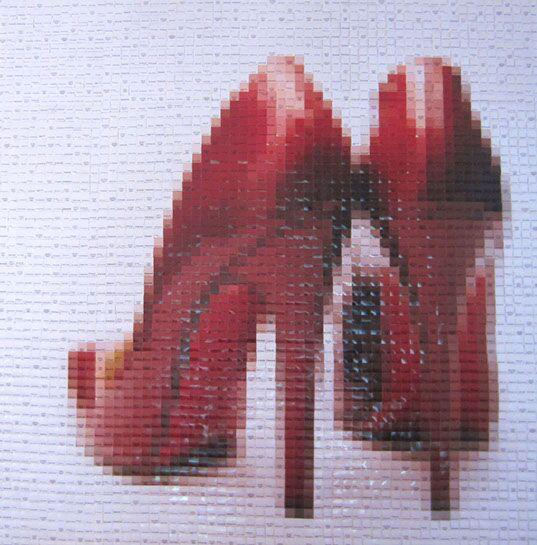 "Pamela Stretton, ""Red"", 48""x48"", reconstructed inkjet print on foam"