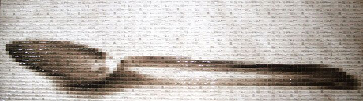 "Pamela Stretton, ""Consumed"", 24""x80"", reconstructed inkjet print on foam"