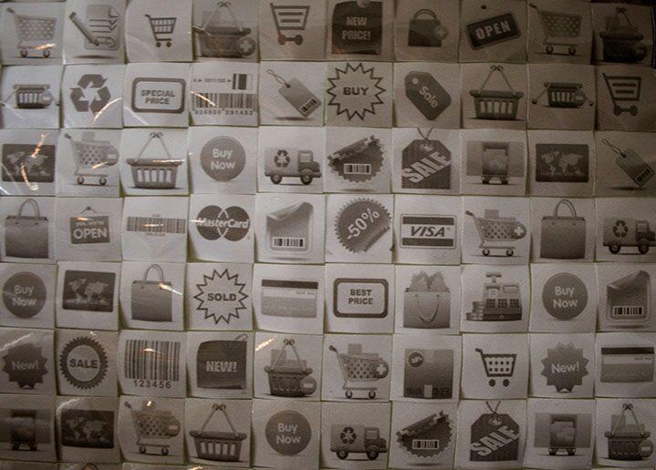 """Pamela Stretton, """"Marketable"""" (detail), reconstructed inkjet print on foam"""