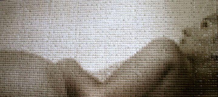 "Pamela Stretton, ""Supernude Gazing"", 36""x80"", reconstructed inkjet print on foam"