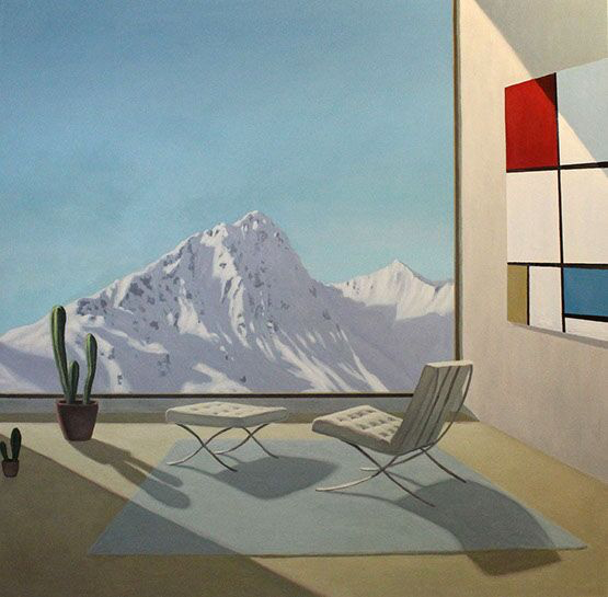 "Patrick St. Clair, ""Mountain View"", 48""x48"", oil on canvas"