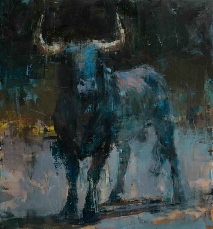 "Joseph Adolphe, ""Toro Bravo No. 64"", 60""x56"", oil on canvas"