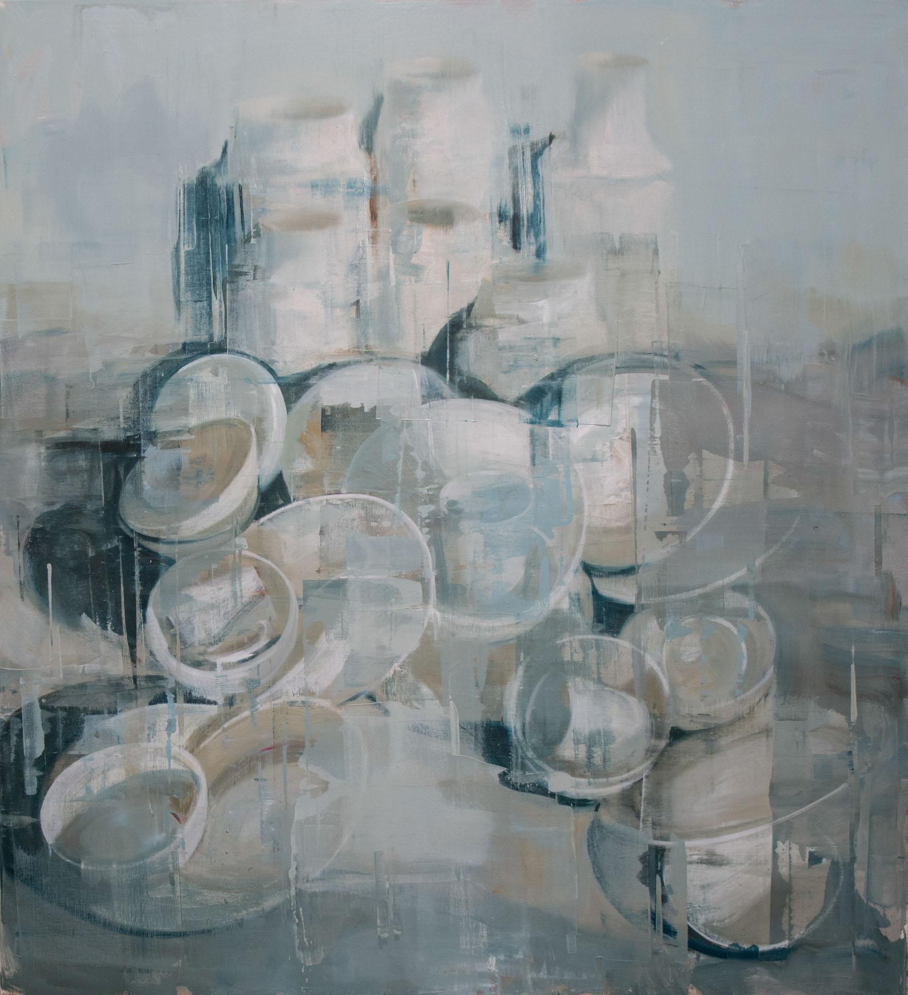 "Joseph Adolphe, ""Anniversary"", 60""x55"", oil on canvas"