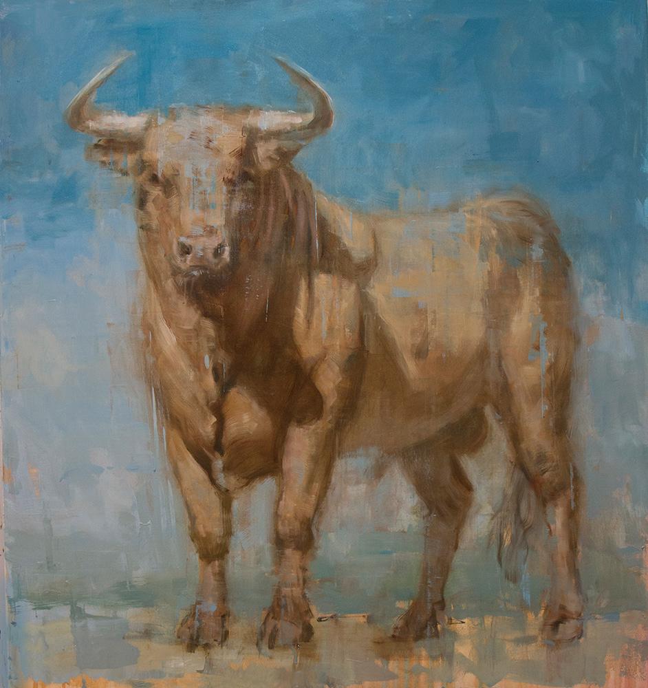 "Joseph Adolphe, ""Toro Bravo No. 58"", 59""x55"", oil on canvas"