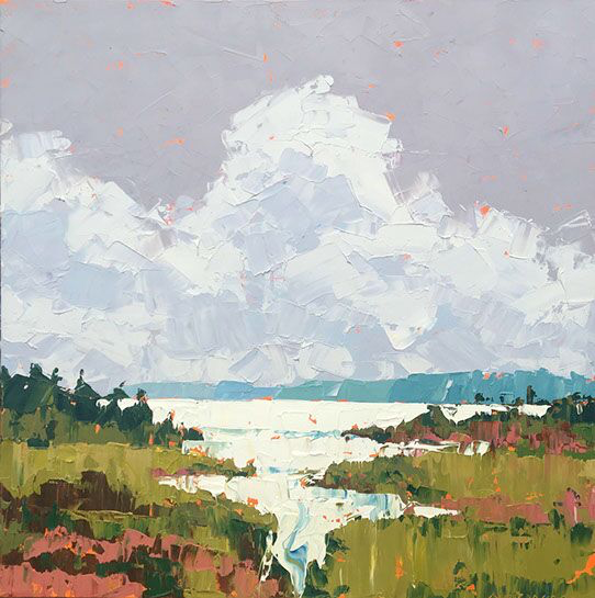 """Paul Norwood, """"In the Reeds"""", 48""""x48"""", oil on canvas"""