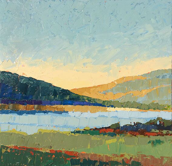 """Paul Norwood, """"Tomales Bay"""", 48""""x48"""", oil on canvas"""