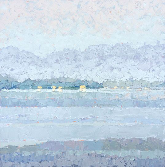 """Paul Norwood, """"Lights Across the Lake"""", 60""""x60"""", oil on canvas"""