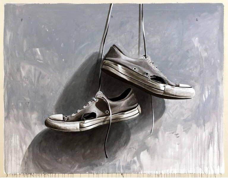 "Santiago Garcia, ""Converse 73"", 79""x24"", oil on canvas"